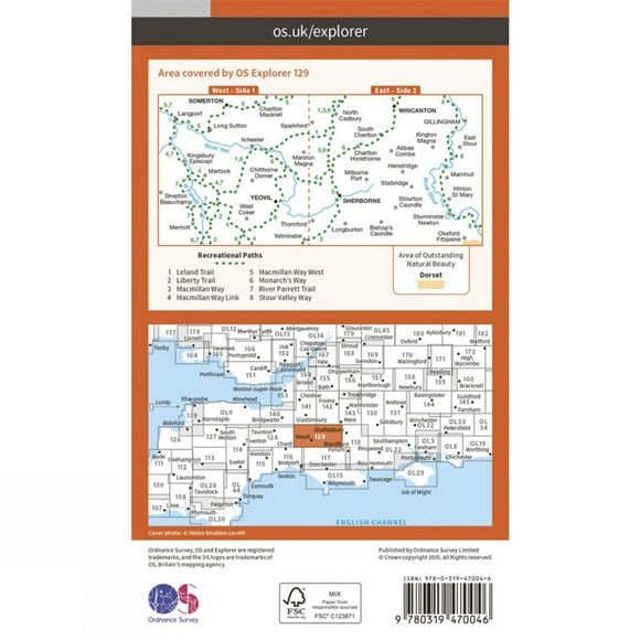 Ordnance Survey Active Explorer Map 129 Yeovil and Sherborne V15