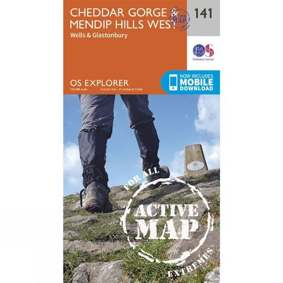 Active Explorer Map 141 Cheddar Gorge and Mendip Hills West