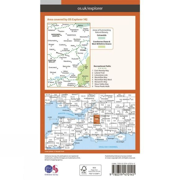 Ordnance Survey Active Explorer Map 142 Shepton Mallet and Mendip Hills East V15