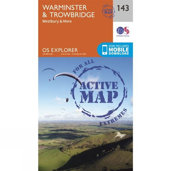 Ordnance Survey Active Explorer Map 143 Warminster and Trowbridge V15