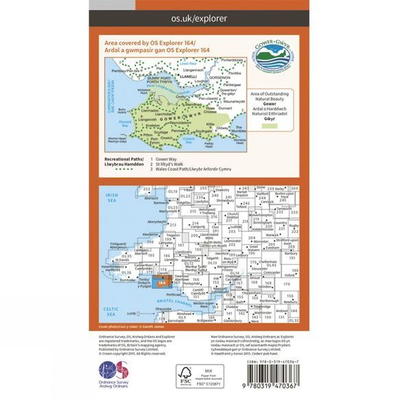 Ordnance Survey Active Explorer Map 164 Gower V15