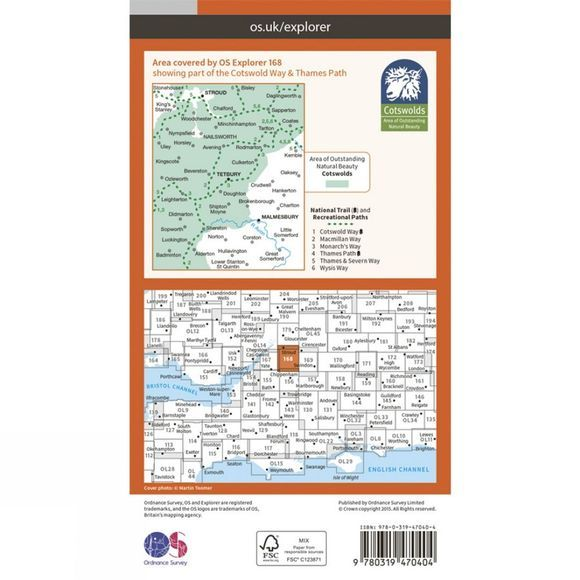 Ordnance Survey Active Explorer Map 168 Stroud, Tetbury and Malmesbury V15