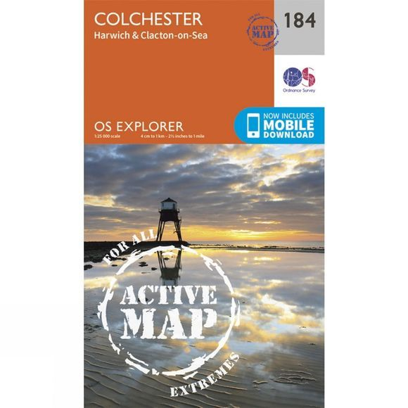 Ordnance Survey Active Explorer Map 184 Colchester V15