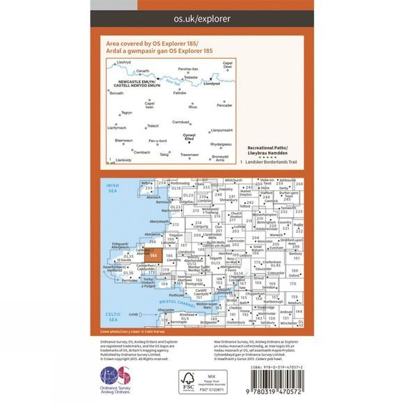 Ordnance Survey Active Explorer Map 185 Newcastle Emlyn V15