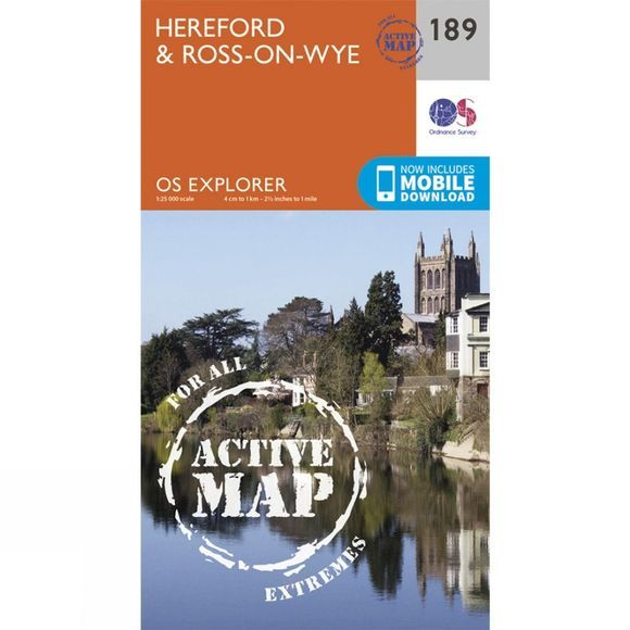 Ordnance Survey Active Explorer Map 189 Hereford and Ross-on-Wye V15