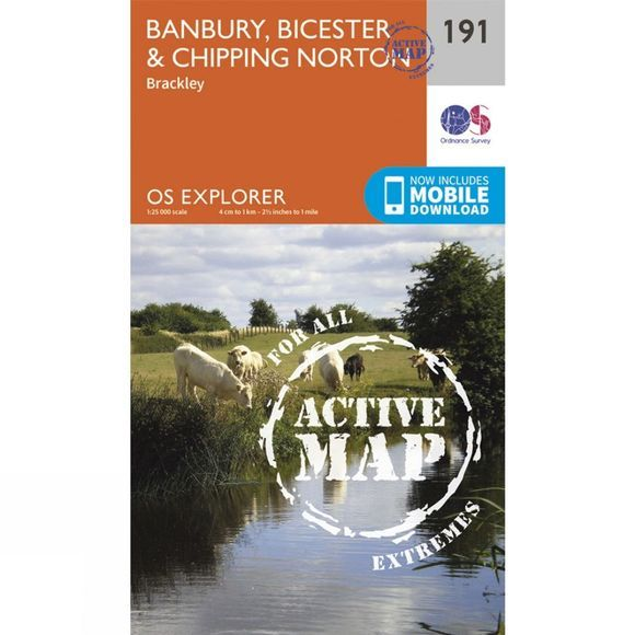 Ordnance Survey Active Explorer Map 191 Banbury, Bicester and Chipping Norton V15