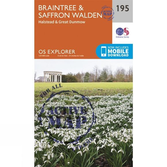 Active Explorer Map 195 Braintree and Saffron Walden