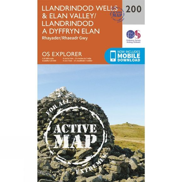 Ordnance Survey Active Explorer Map 200 Llandrindod Wells and Elan Valley V15