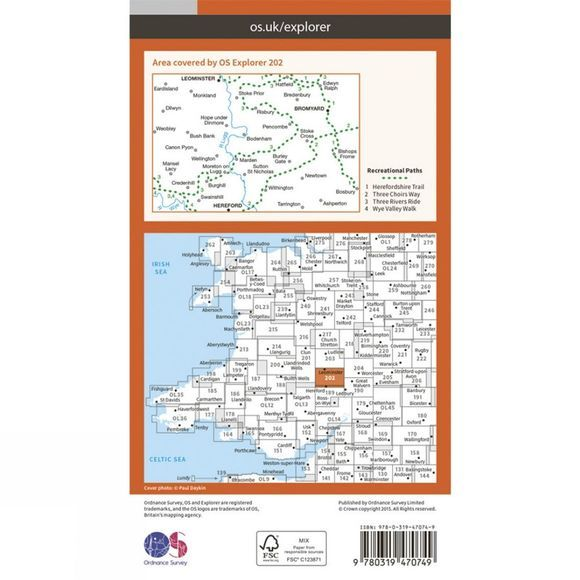 Active Explorer Map 202 Leominster and Bromyard