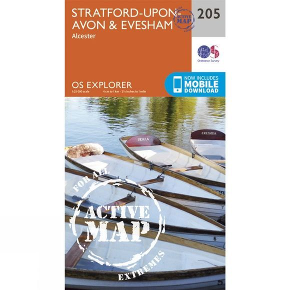 Ordnance Survey Active Explorer Map 205 Stratford-upon-Avon and Evesham V15