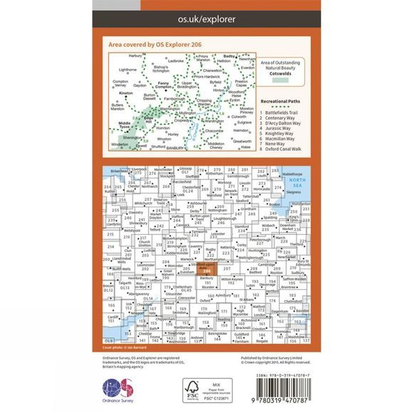 Ordnance Survey Active Explorer Map 206 Edge Hill and Fenny Compton V15