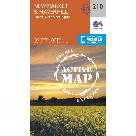 Ordnance Survey Active Explorer Map 210 Newmarket and Haverhill V15