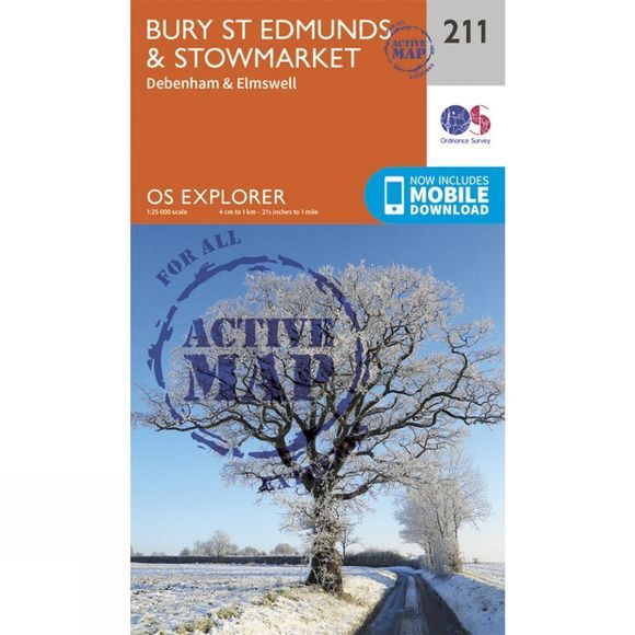Ordnance Survey Active Explorer Map 211 Bury St Edmunds and Stowmarket V15