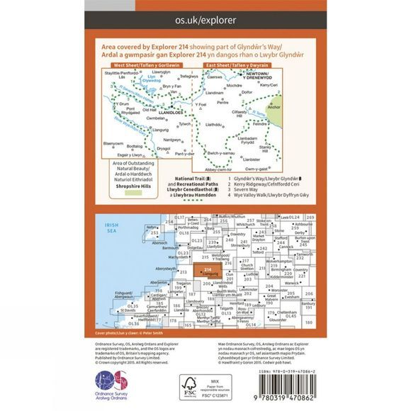Ordnance Survey Active Explorer Map 214 Llanidloes and Newtown V15
