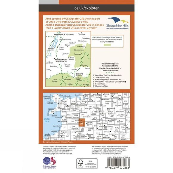Ordnance Survey Active Explorer Map 216 Welshpool and Montgomery V15