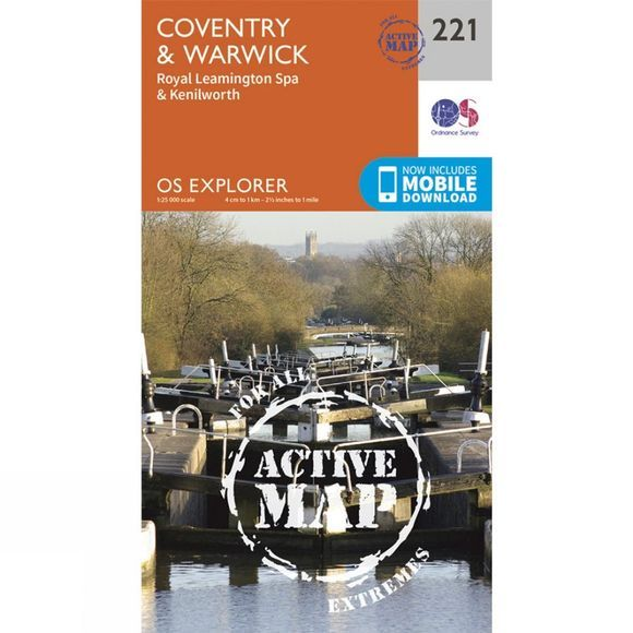 Ordnance Survey Active Explorer Map 221 Coventry and Warwick V15