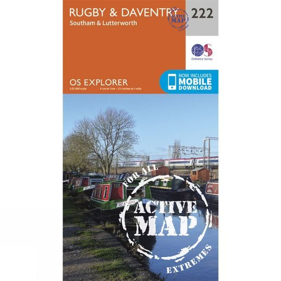 Ordnance Survey Active Explorer Map 222 Rugby and Daventry V15