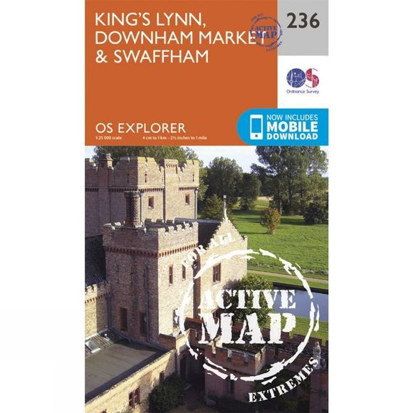Ordnance Survey Active Explorer Map 236 King's Lynn, Downham Market and Swaffham V15