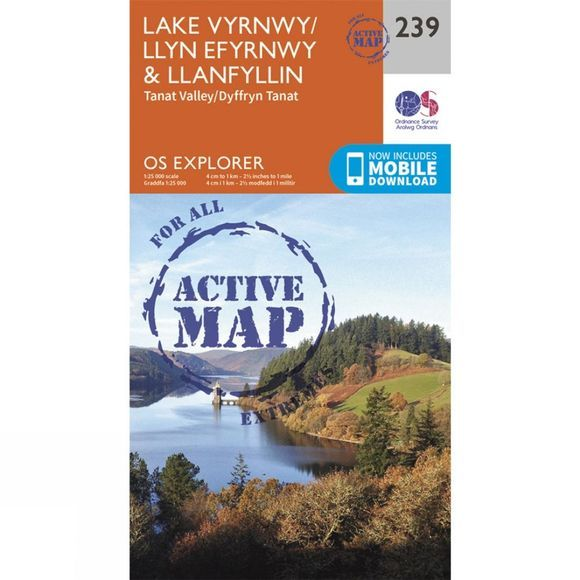 Ordnance Survey Active Explorer Map 239 Lake Vyrnwy and Llanfyllin V15