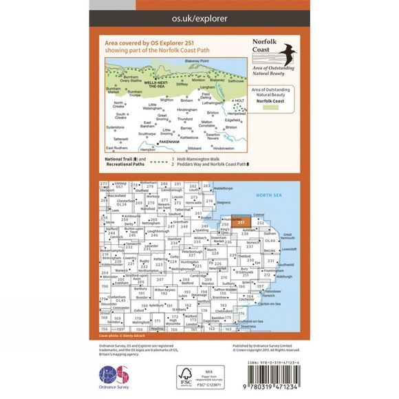 Ordnance Survey Active Explorer Map 251 Norfolk Coast Central V15