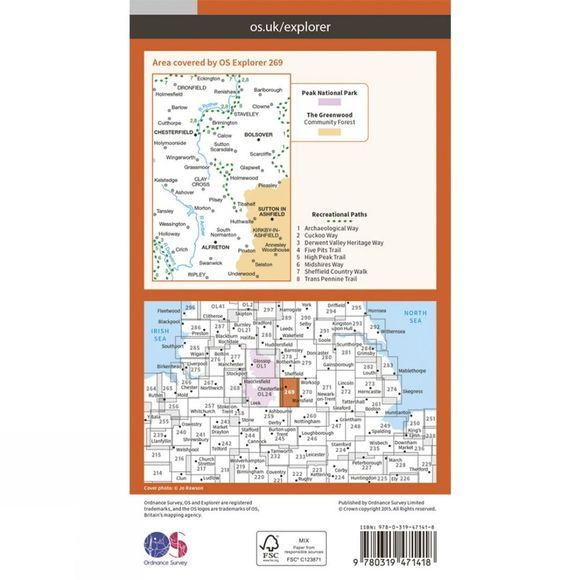 Active Explorer Map 269 Chesterfield and Alferton
