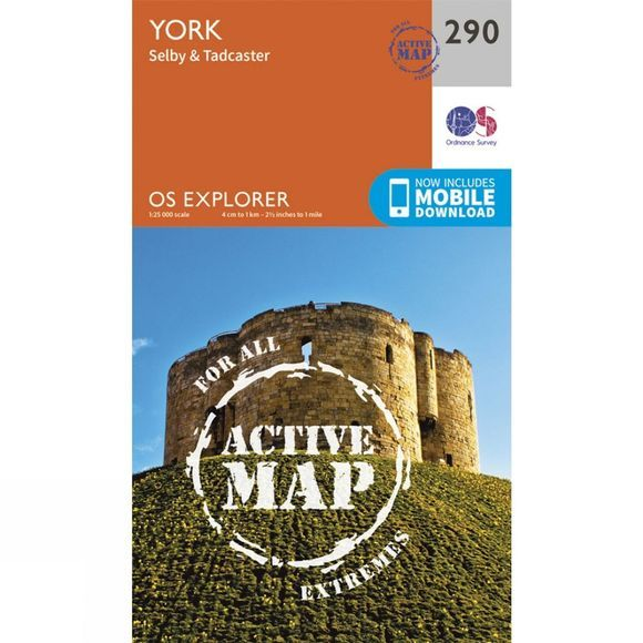 Ordnance Survey Active Explorer Map 290 York V15