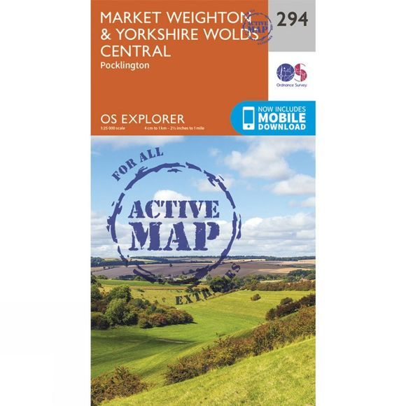 Ordnance Survey Active Explorer Map 294 Market Weighton and Yorkshire Wolds Central V15