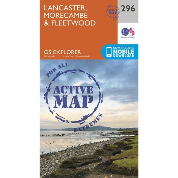 Ordnance Survey Active Explorer Map 296 Lancaster, Morecambe and Fleetwood V15