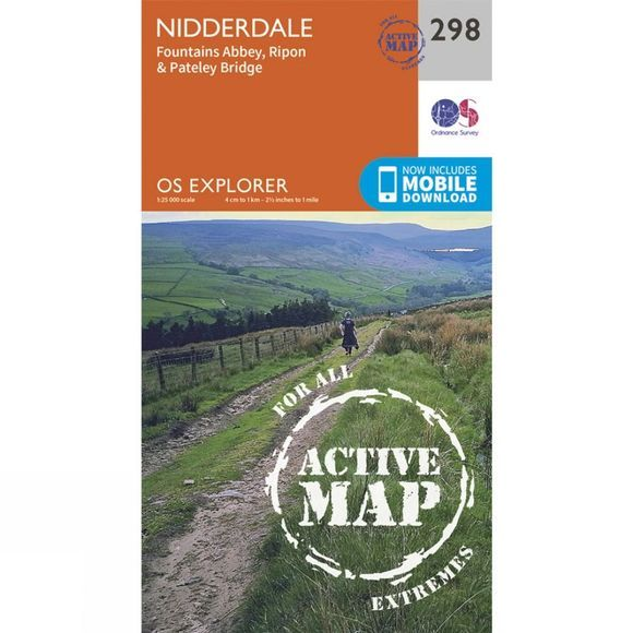 Ordnance Survey Active Explorer Map 298 Nidderdale V15
