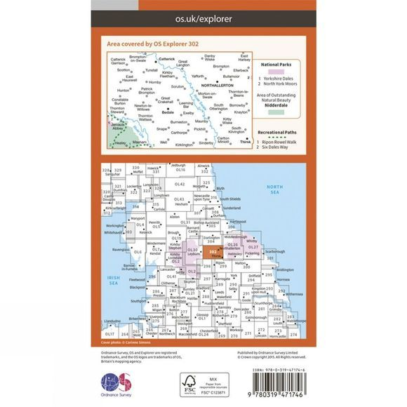 Ordnance Survey Active Explorer Map 302 Northallerton and Thirsk V15