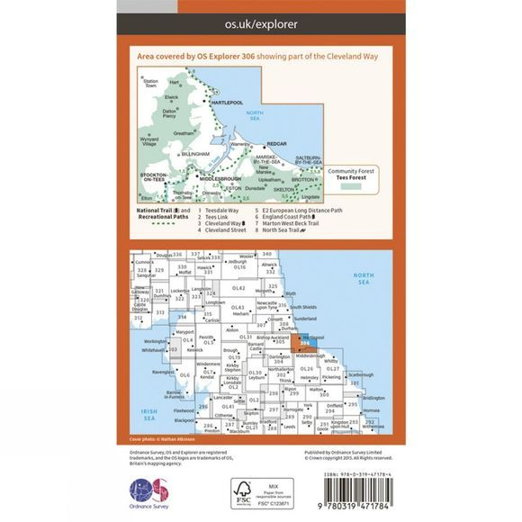 Ordnance Survey Active Explorer Map 306 Middlesbrough and Hartlepool V15