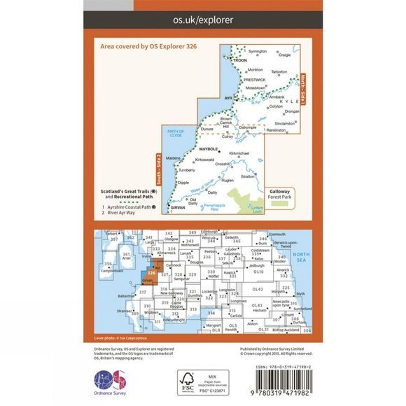 Ordnance Survey Active Explorer Map 326 Ayr and Troon V15