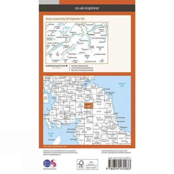 Ordnance Survey Active Explorer Map 331 Teviotdale South V15