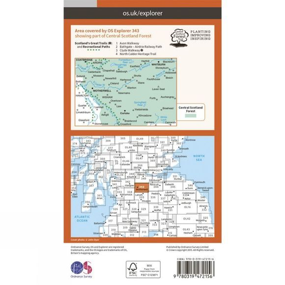 Ordnance Survey Active Explorer Map 343 Motherwell and Coatbridge V15