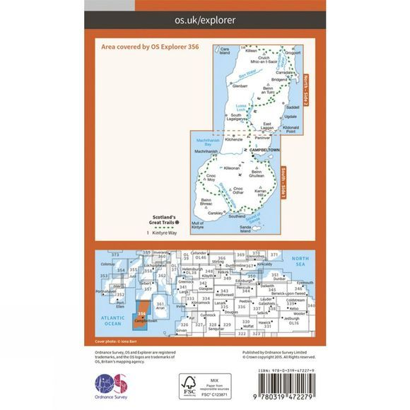 Ordnance Survey Active Explorer Map 356 Kintyre South V15