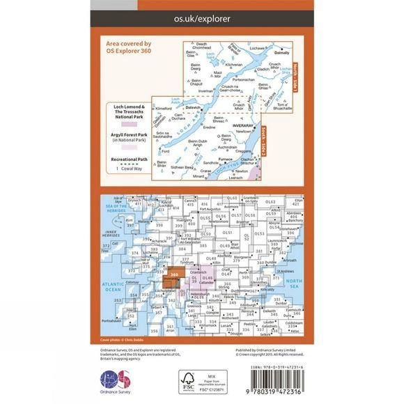 Ordnance Survey Active Explorer Map 360 Loch Awe and Inveraray V15