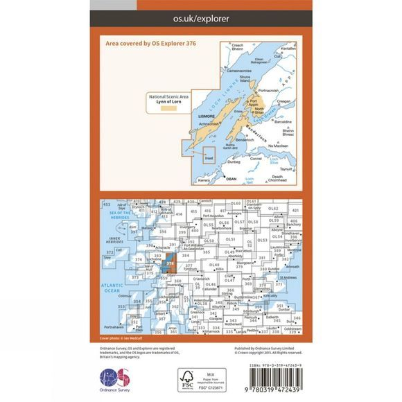 Ordnance Survey Active Explorer Map 376 Oban and North Lorn V15