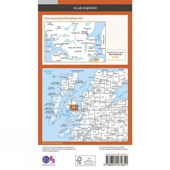 Ordnance Survey Active Explorer Map 410 Skye -  Portree and Bracadale V15