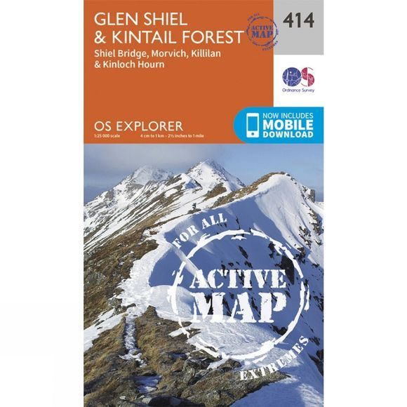 Ordnance Survey Active Explorer Map 414 Glen Shiel and Kintail Forest V15