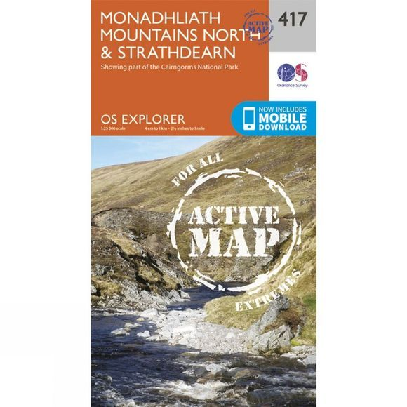 Ordnance Survey Active Explorer Map 417 Monadhliath Mountains North and Strathdearn V15