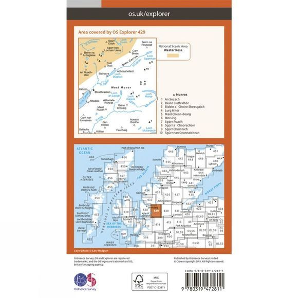 Ordnance Survey Active Explorer Map 429 Glen Carron and West Monar V15