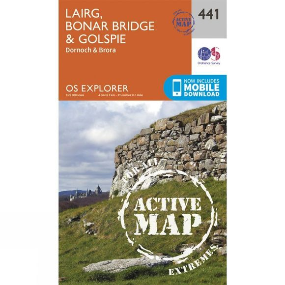 Ordnance Survey Active Explorer Map 441 Lairg, Bonar Bridge and Golspie V15