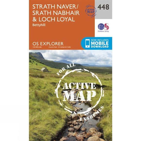 Ordnance Survey Active Explorer Map 448 Strath Naver and Loch Loyal V15