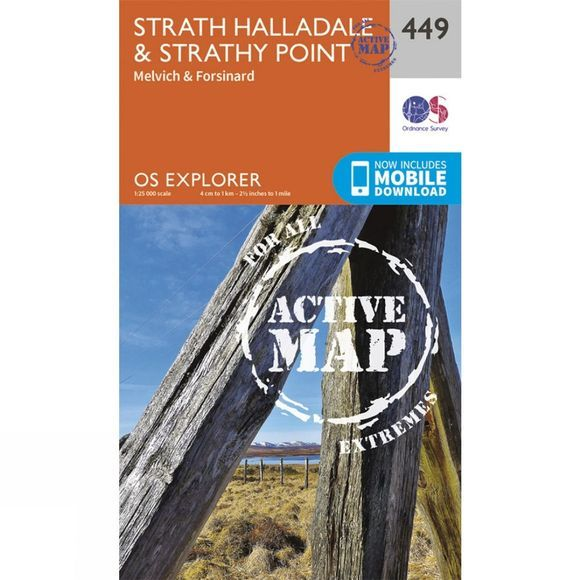 Ordnance Survey Active Explorer Map 449 Strath Halladale and Strathy Point V15