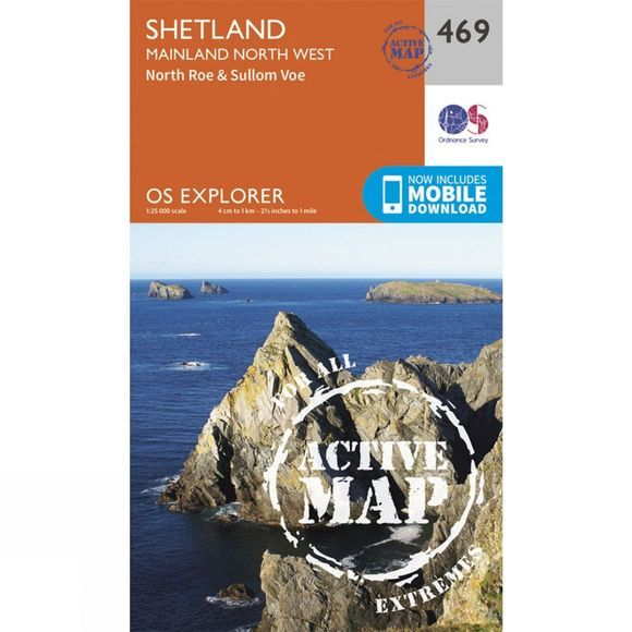 Ordnance Survey Active Explorer Map 469 Shetland - Mainland North West V15