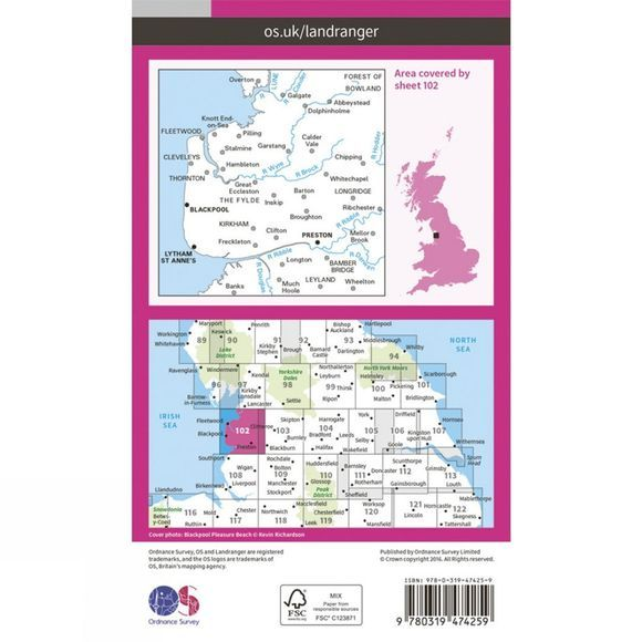 Ordnance Survey Active Landranger Map 102 Preston and Blackpool V16