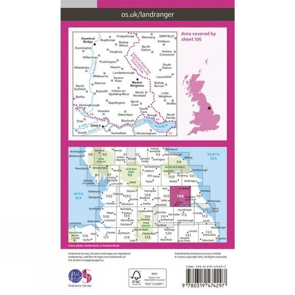 Ordnance Survey Active Landranger Map 106 Market Weighton V16