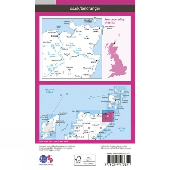 Ordnance Survey Active Landranger Map 12 Thurso and Wick V16