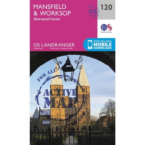 Ordnance Survey Active Landranger Map 120 Mansfield and Worksop V16