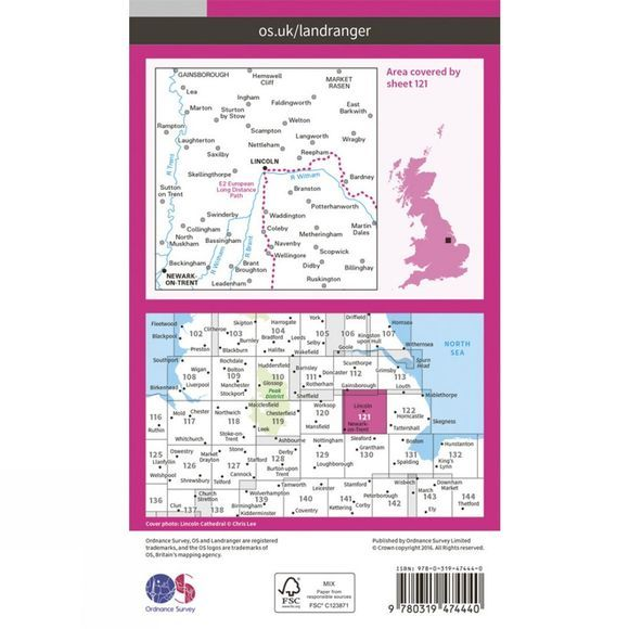 Ordnance Survey Active Landranger Map 121 Lincoln and Newark-on-Trent V16